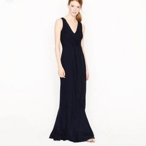 J CREW Sophia silk tricotine black evening gown